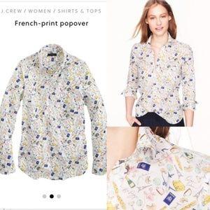 J Crew French Print Popover Shirt